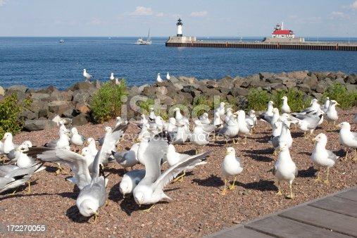 Boardwalk along Lake Superior in Duluth Minnesota.