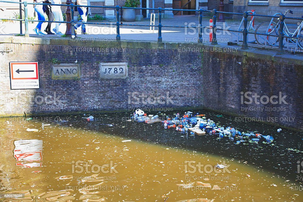 Canal pollution in Amsterdam, Netherlands foto de stock royalty-free