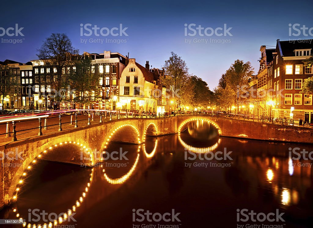 Canal Scene in Amsterdam royalty-free stock photo