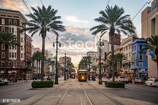 New Orleans, Lousiana - October 10, 2016: NEW ORLEANS - OCTOBER 18, 2016: view of the famous Canal Street on October 10, 2016 in New Orleans, LA