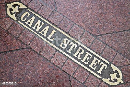 Canal street sidewalk name tile (New Orleans, Louisiana).