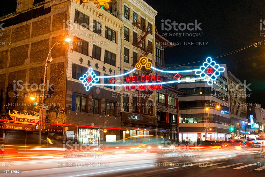 Nyc Canal Street Welcome To Chinatown Sign With Night Traffic Stock Photo Download Image Now Istock