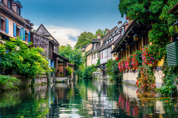 canal through Colmar in France stock photo