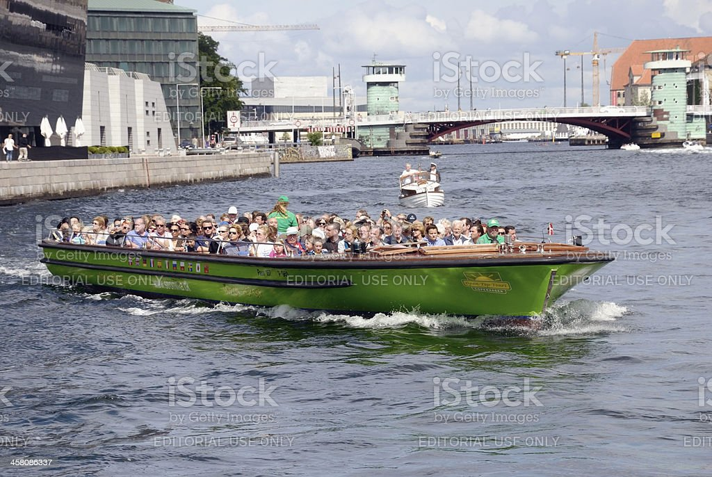 Canal tour boat in Copenhagen, Denmark royalty-free stock photo