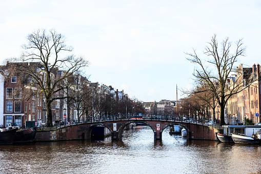 Canal view in Amsterdam, Netherlands, December 2017, Amsterdam, Netherlands