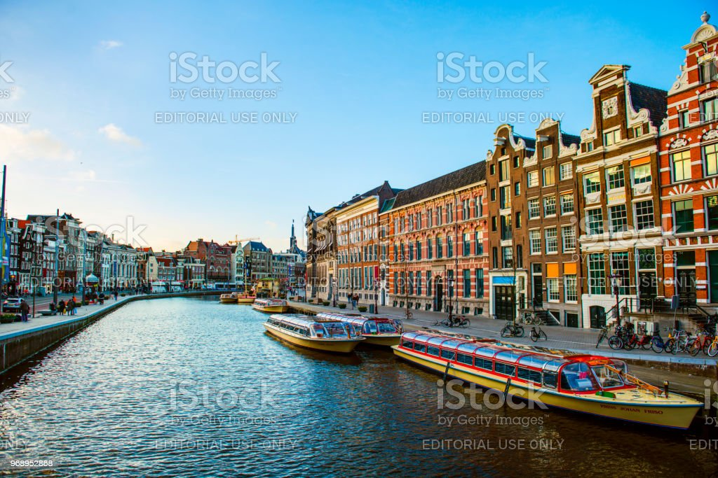 Canal view of Amsterdam stock photo
