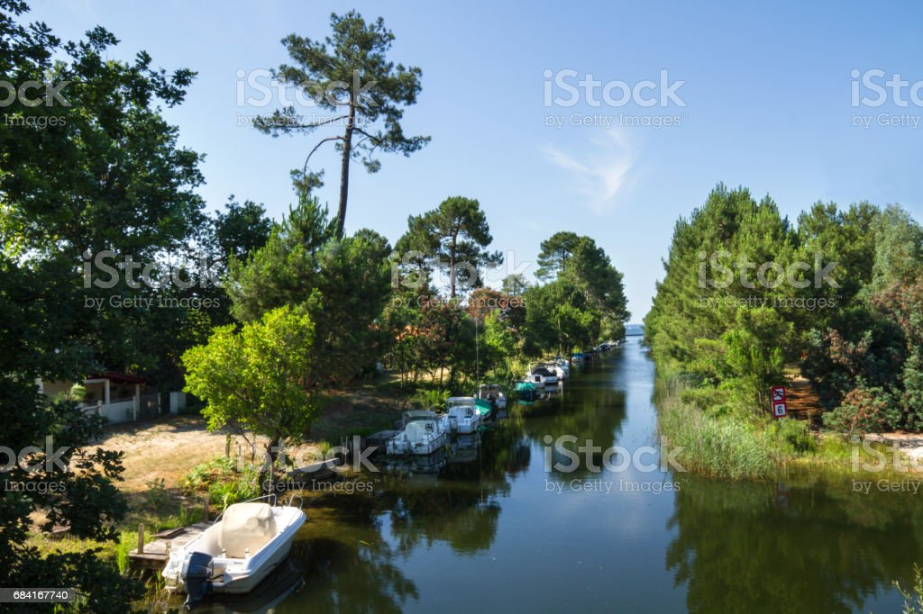 Canal with boats in a summer day стоковое фото