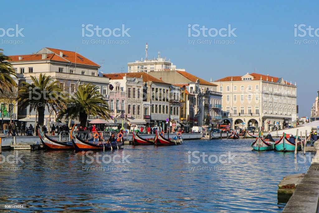 Canal with boats in Aveiro, Portugal stock photo