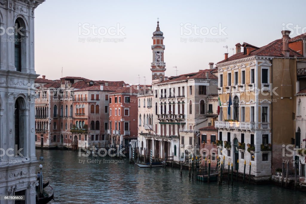 canal with boats in Venice foto stock royalty-free