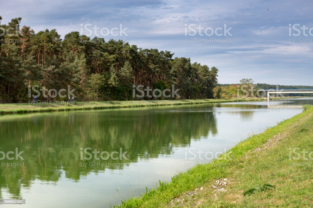 Canal with Bridge in Frankonia stock photo