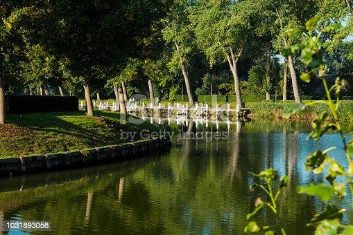 water landscape in fortified city Sluis, Holland