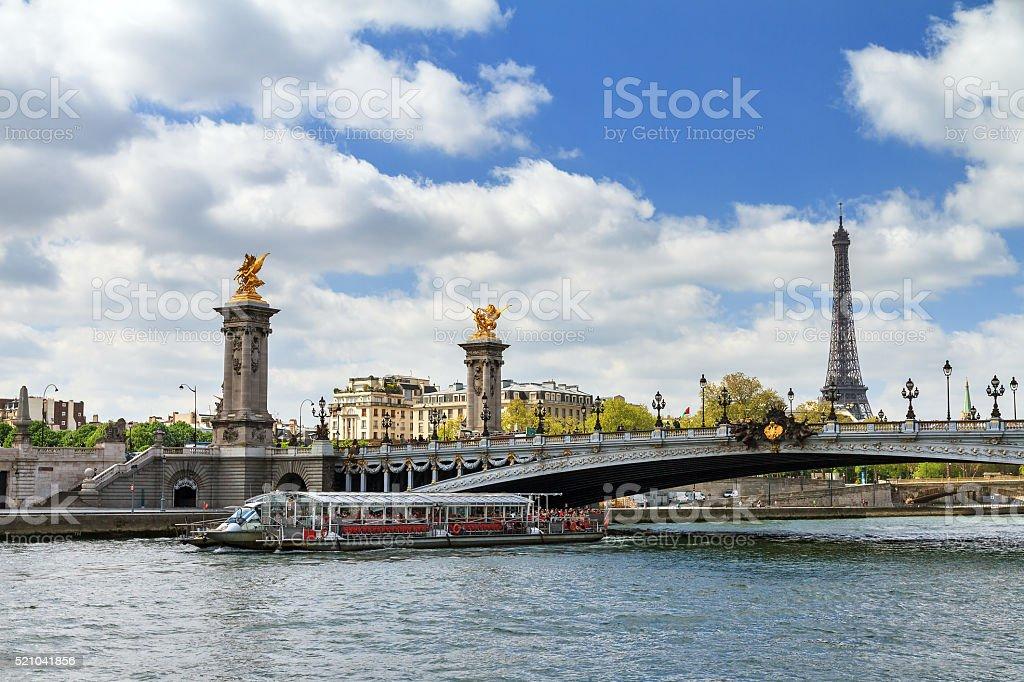 Canalboat pont Alexandre stock photo