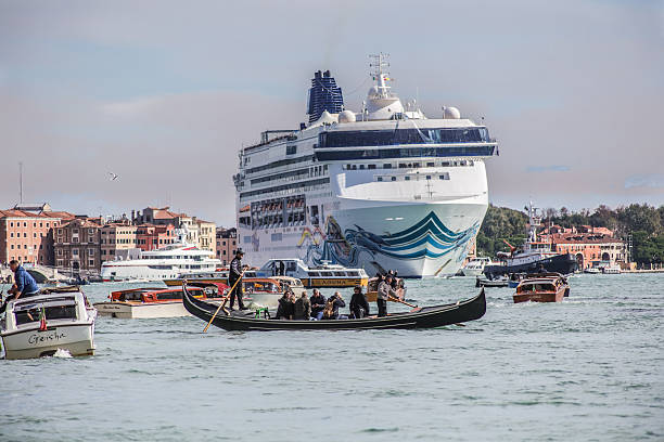 Canale grande and Cruise ship stock photo