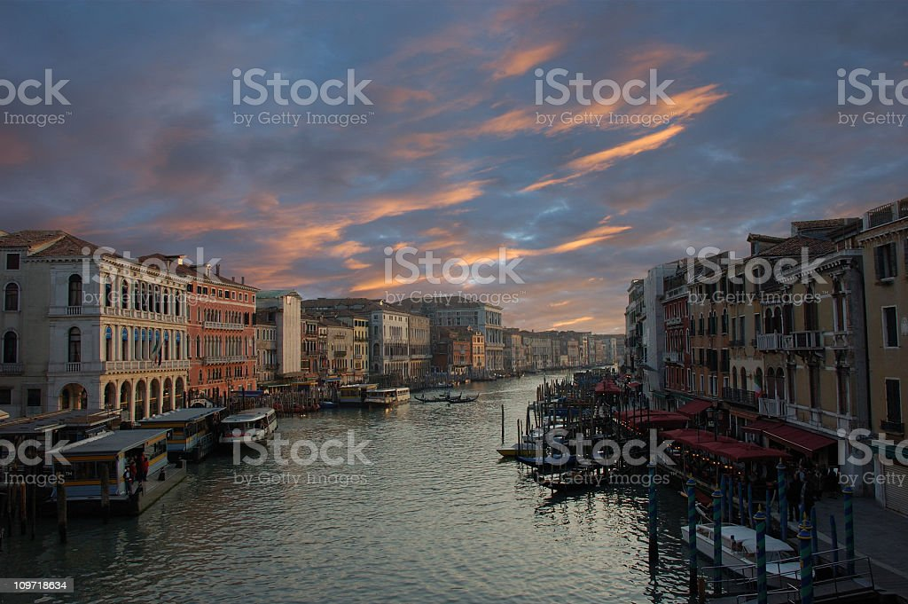 Canale Grande with amazing sunset royalty-free stock photo