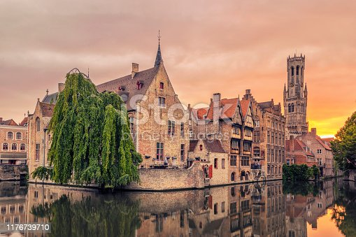 The Belfry of Bruges is a medieval bell tower in the centre of Bruges, Belgium. Bruges, the capital of West Flanders in northwest Belgium, is distinguished by its canals, cobbled streets and medieval buildings.