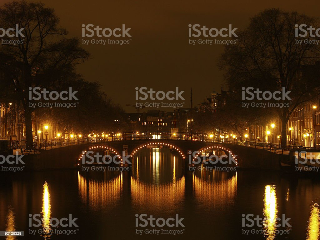 canals of Amsterdam by night royalty-free stock photo