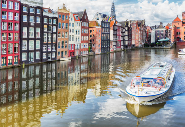 Canals of Amsterdam, Netherlands stock photo