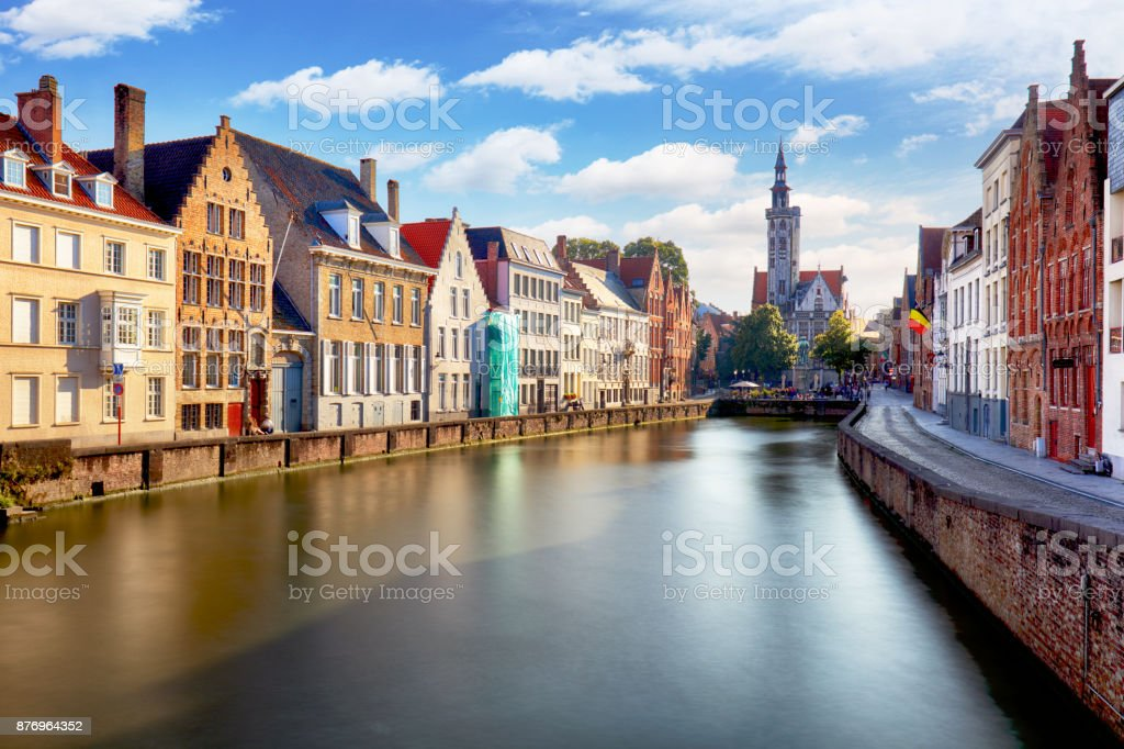 Canals of Bruges, Belgium at sunset stock photo