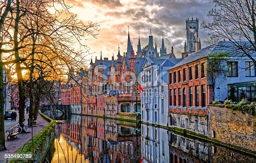 Canals of Bruges (Brugge), Belgium. Winter evening view.