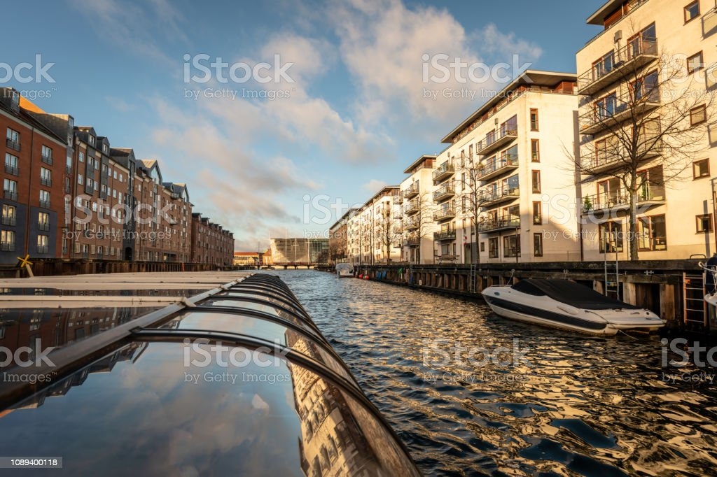 Canals of Copenhagen, Denmark, from a tour boat stock photo