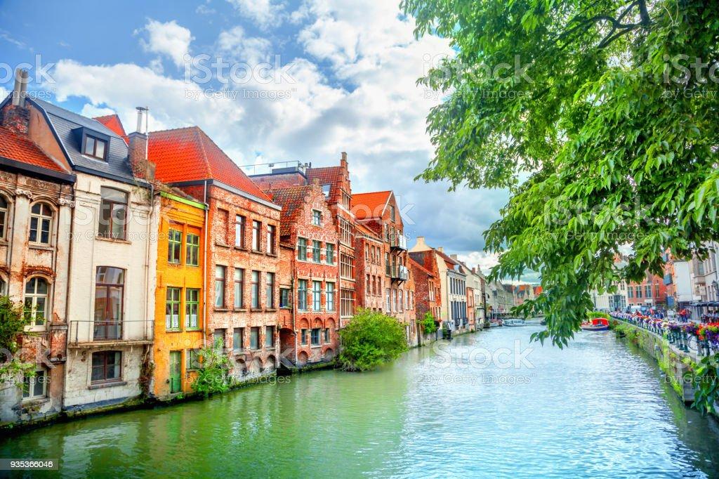 Canals of Gent, Belgium stock photo