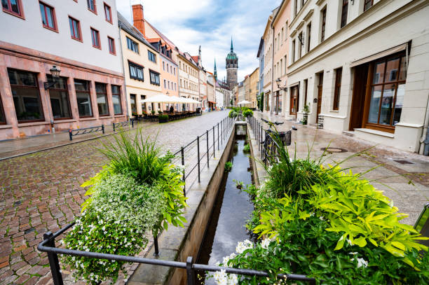 Canals of Lutherstadt Wittenberg stock photo