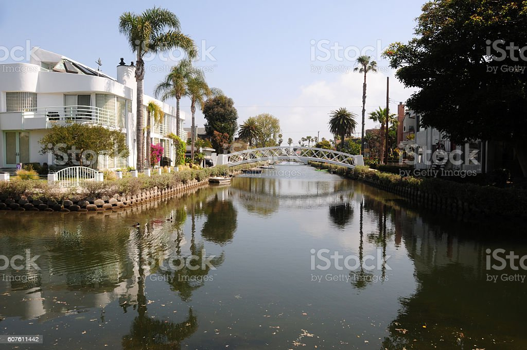 Canals of Venice Beach, Los Angeles stock photo