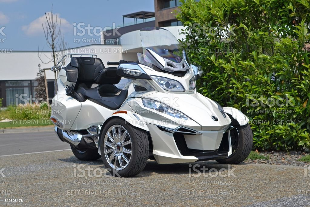 Can-Am Spyder on the street stock photo