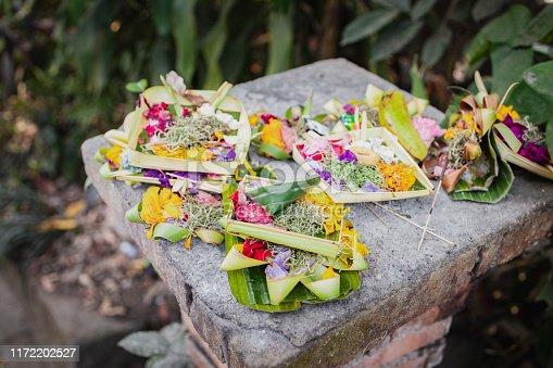 Asia, Bali, Ubud, Religion - Canang Sari, Prayer Offerings On the Floor