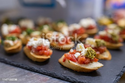 Close-up of canape appetizers