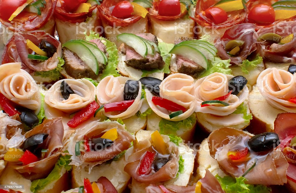 canape for a self service buffet stock photo