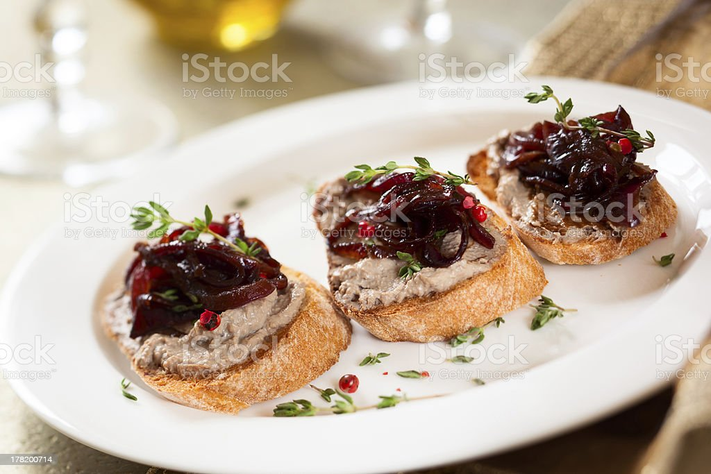 Canape with chicken liver pate stock photo