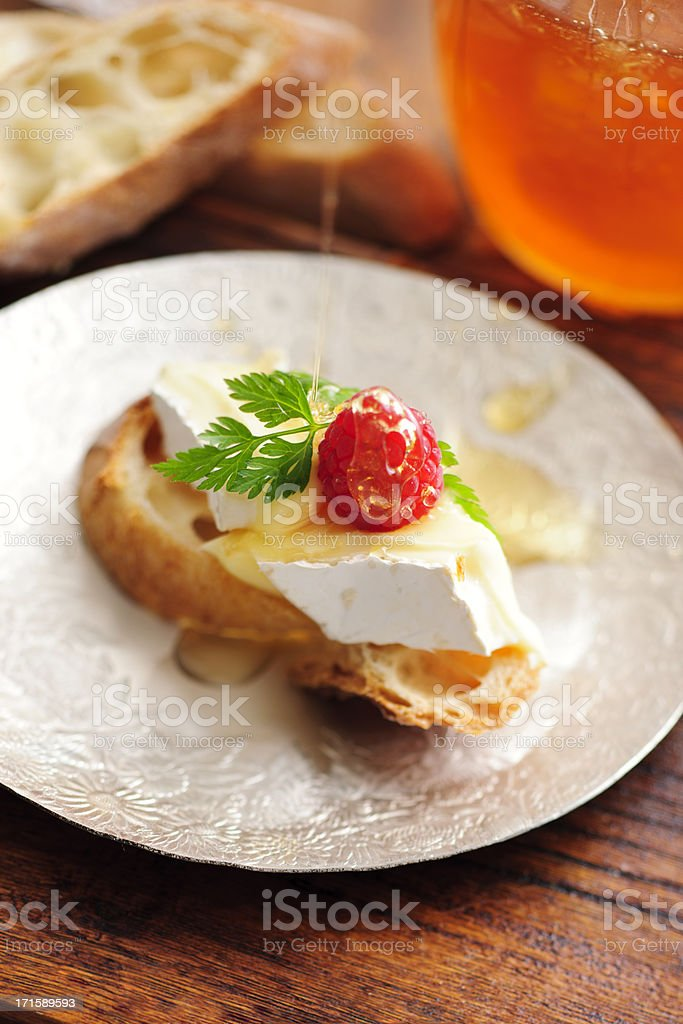 Canape with Creamy Brie Cheeese royalty-free stock photo