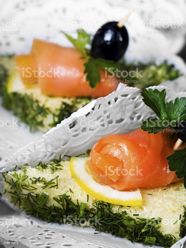Canape with salmon royalty-free stock photo