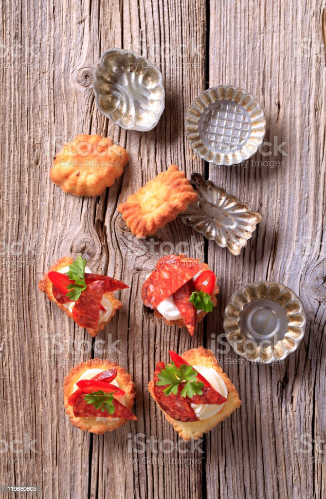 Canapes and small pans royalty-free stock photo