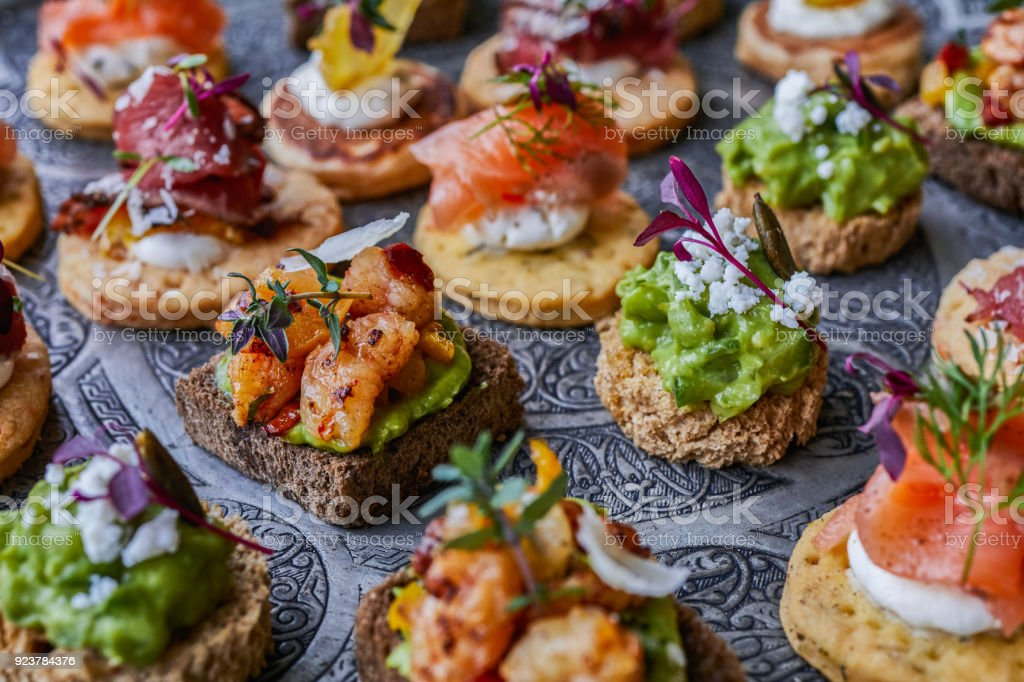 Canapes for party - foto stock