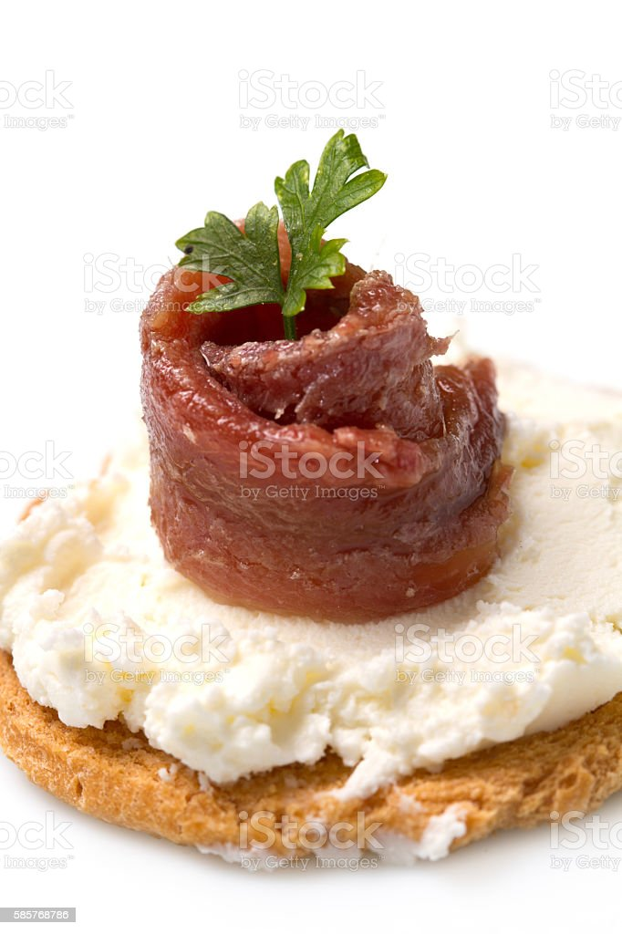 Canapes with anchovy stock photo