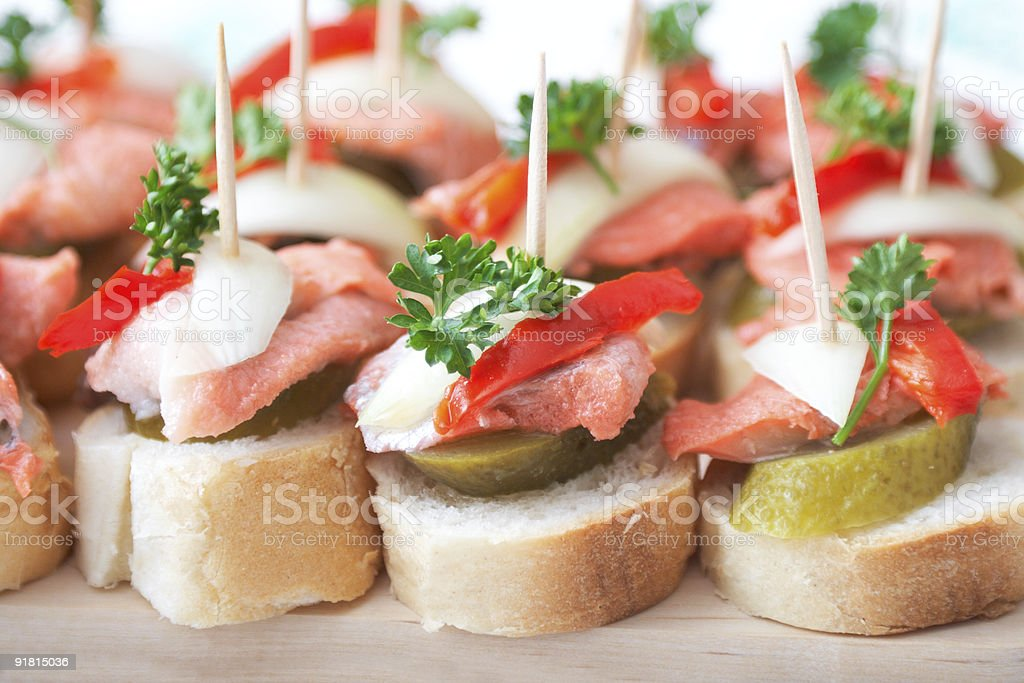 canapes with fish royalty-free stock photo