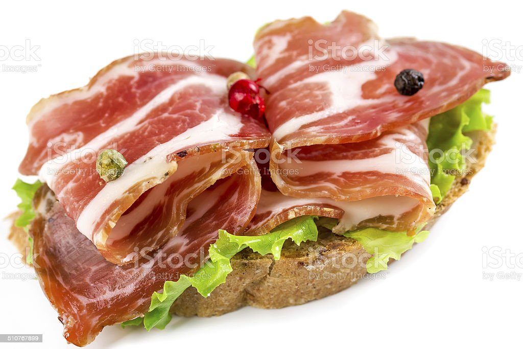 Canapes with ham stock photo