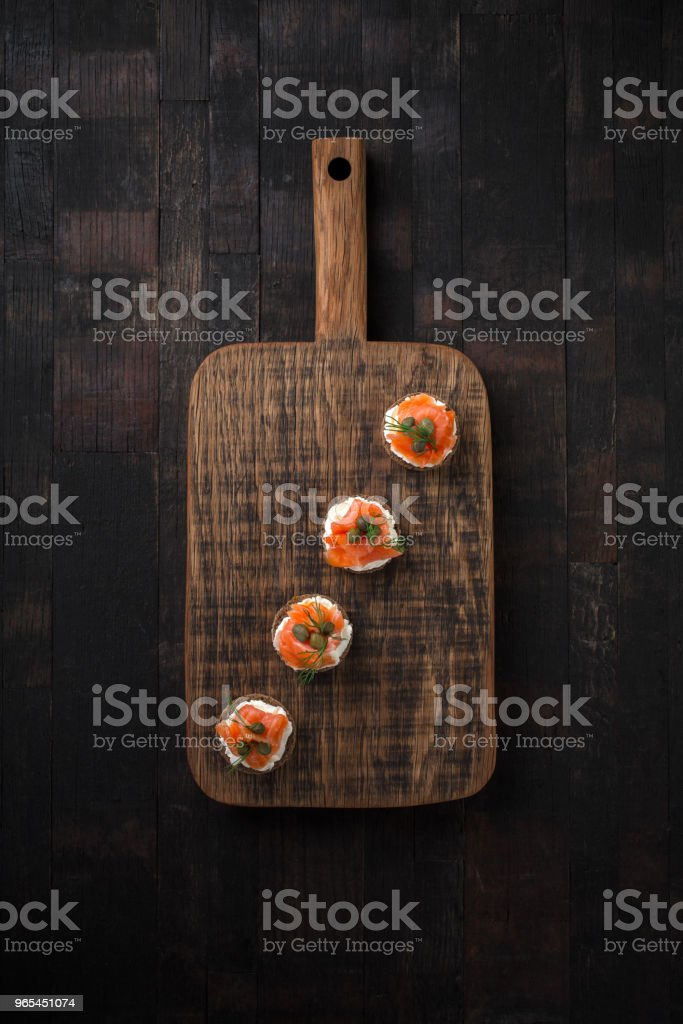 Canapes with smoked salmon. royalty-free stock photo