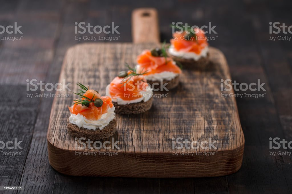 Canapes with smoked salmon. zbiór zdjęć royalty-free