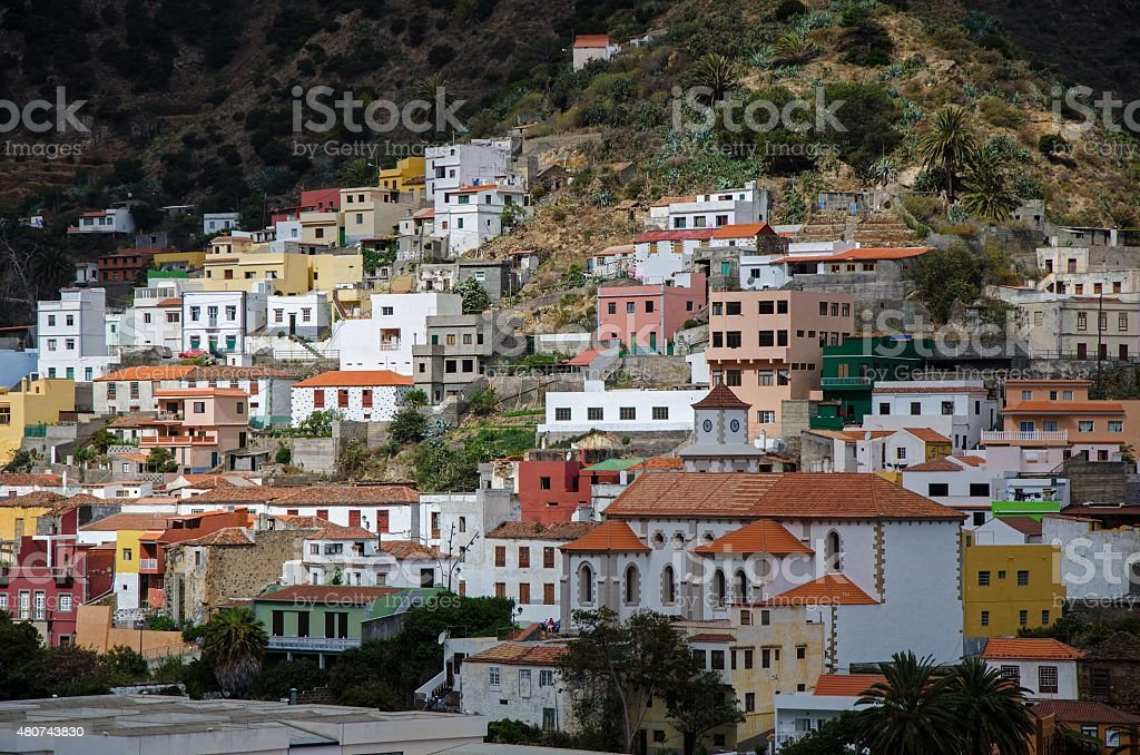 Canarian village on the slope of a hill stock photo