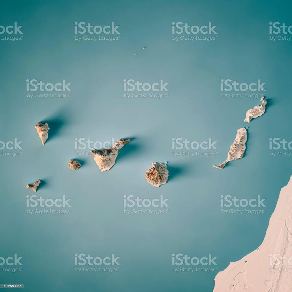 Kanaren 3D Render topographische Karte Neutral – Foto