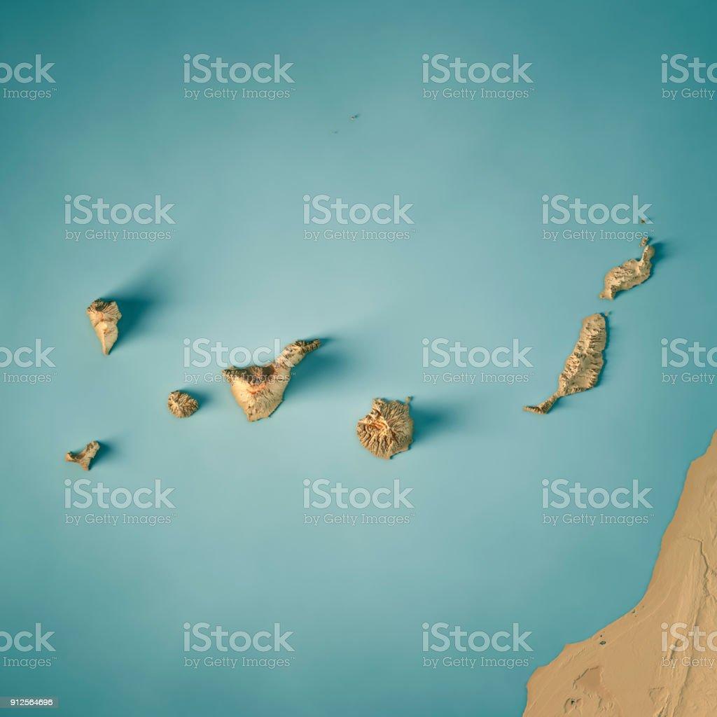 Kanarischen Inseln 3D-Render topographische Karte – Foto
