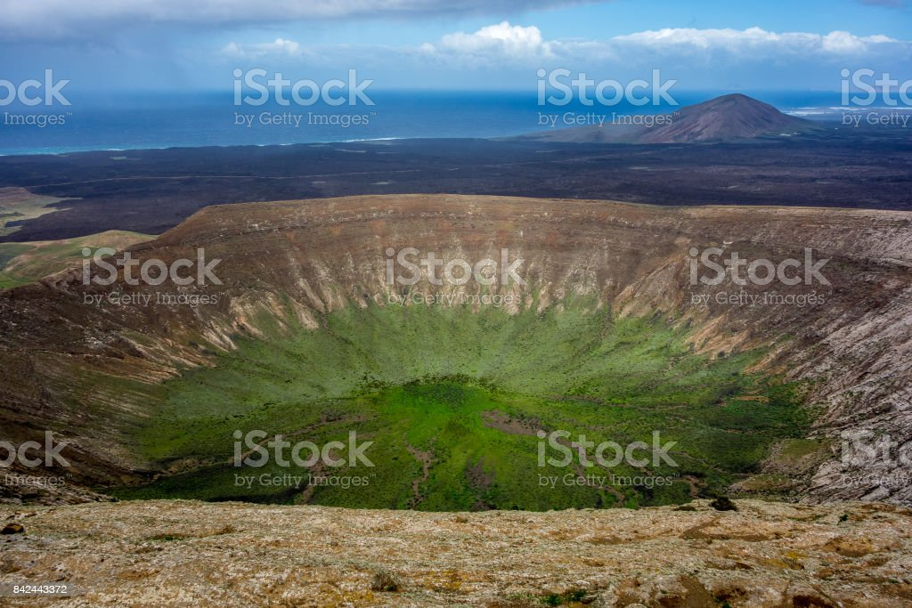 Canary Islands - Lanzarote - Caldera Blanca in Timanfaya national park stock photo
