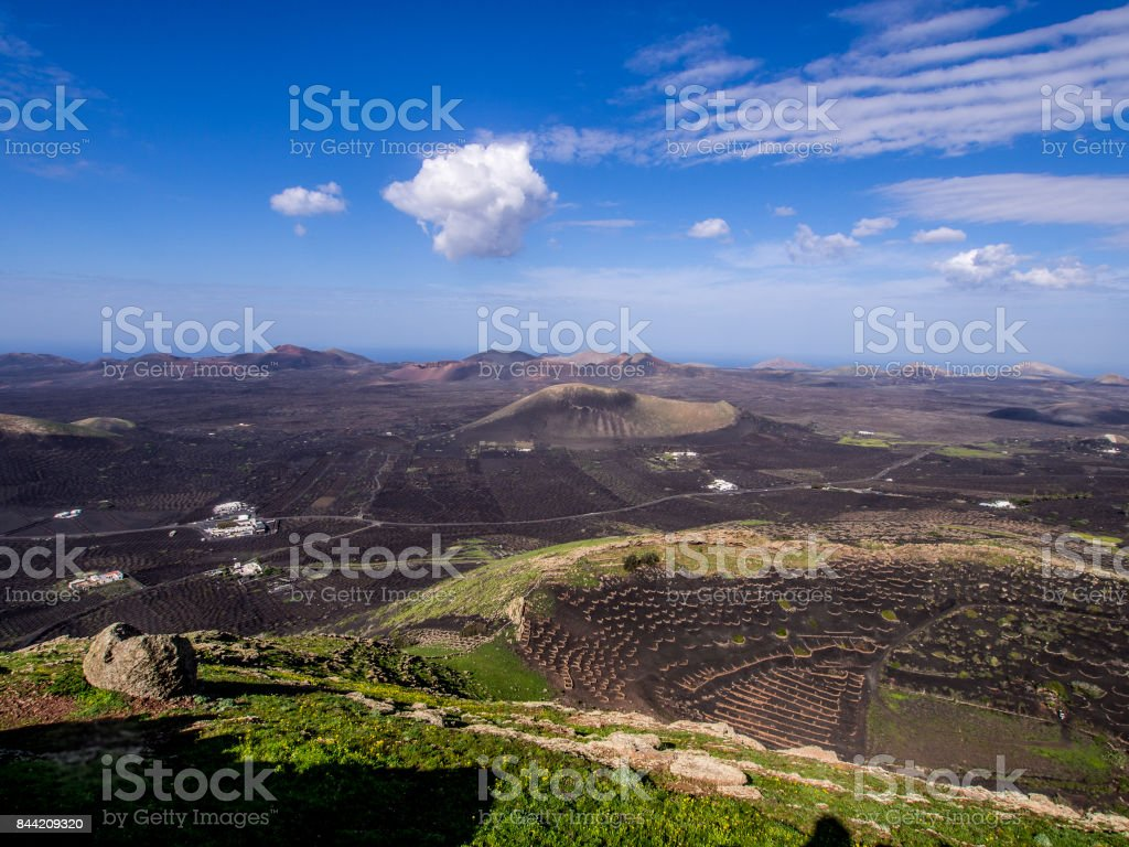 Canary Islands - Lanzarote - La Geria and Montanas del Fuego stock photo