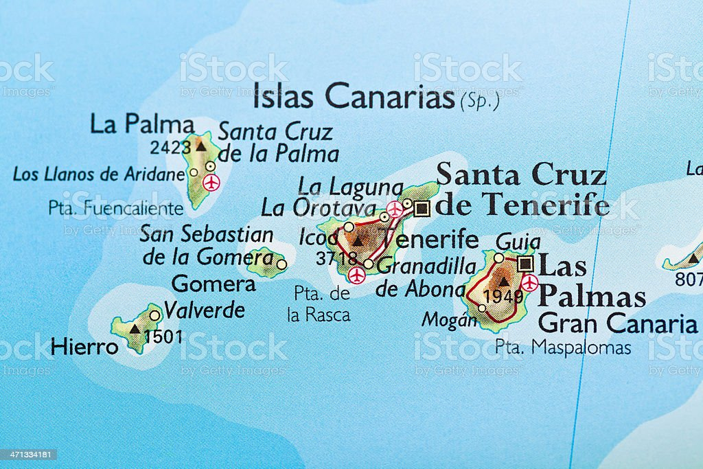 Canary Islands, Spain map stock photo