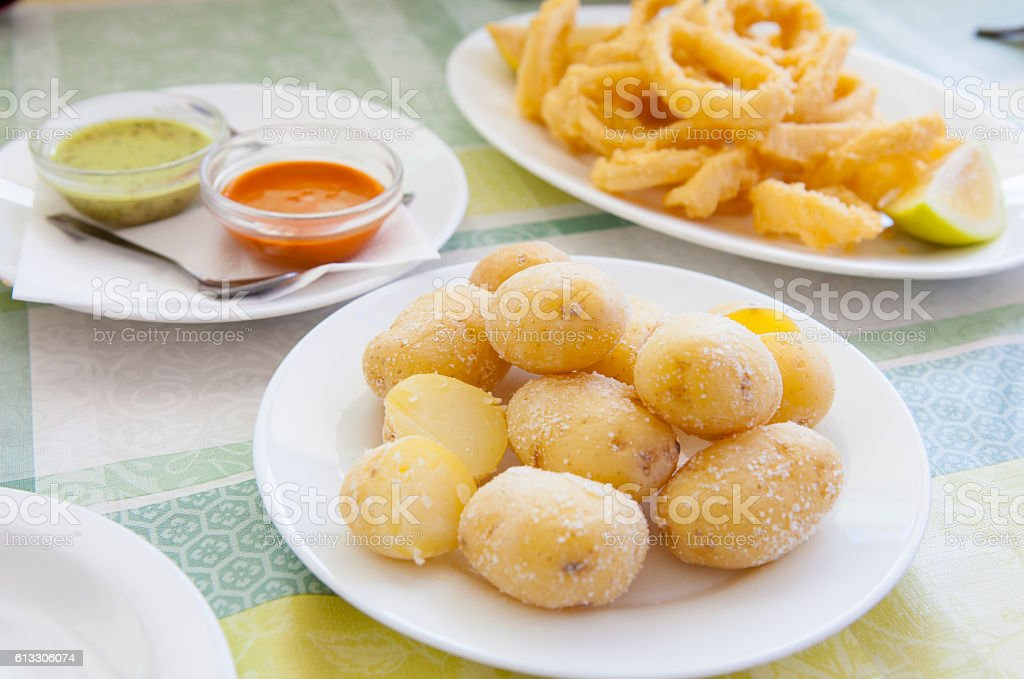 Canary tyical dishes stock photo