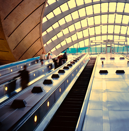 Canary Warf Underground Station Going Up With The Escalators Stock Photo - Download Image Now