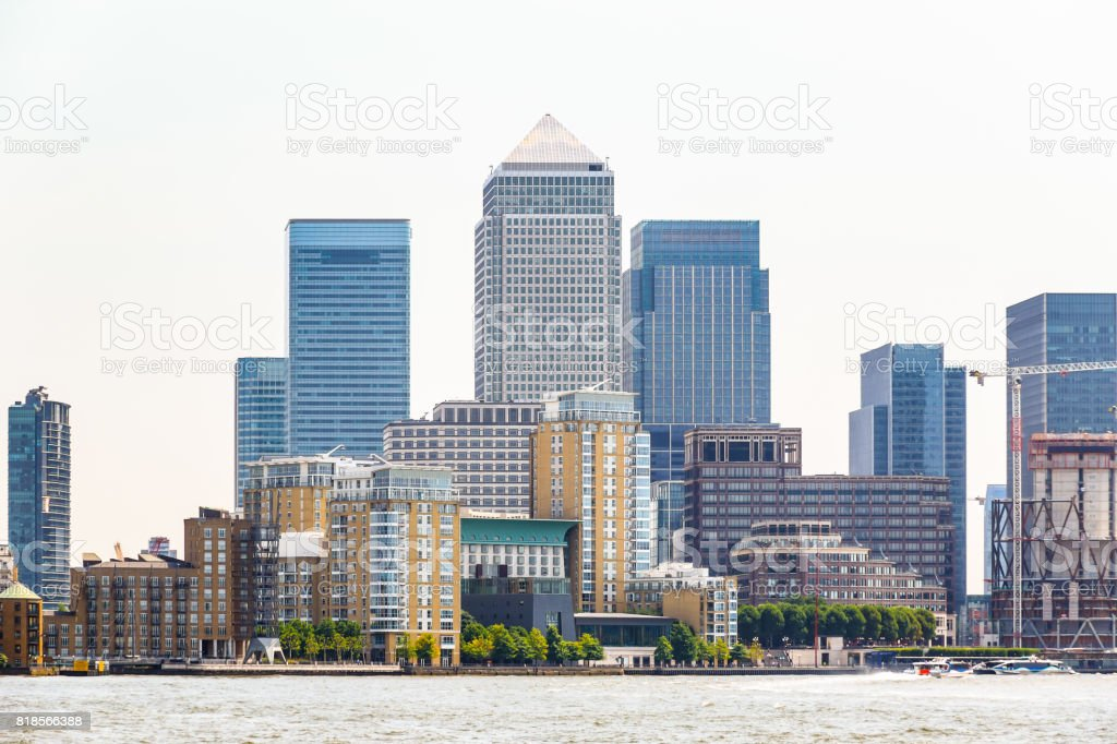 Canary Wharf, a major financial district in London stock photo